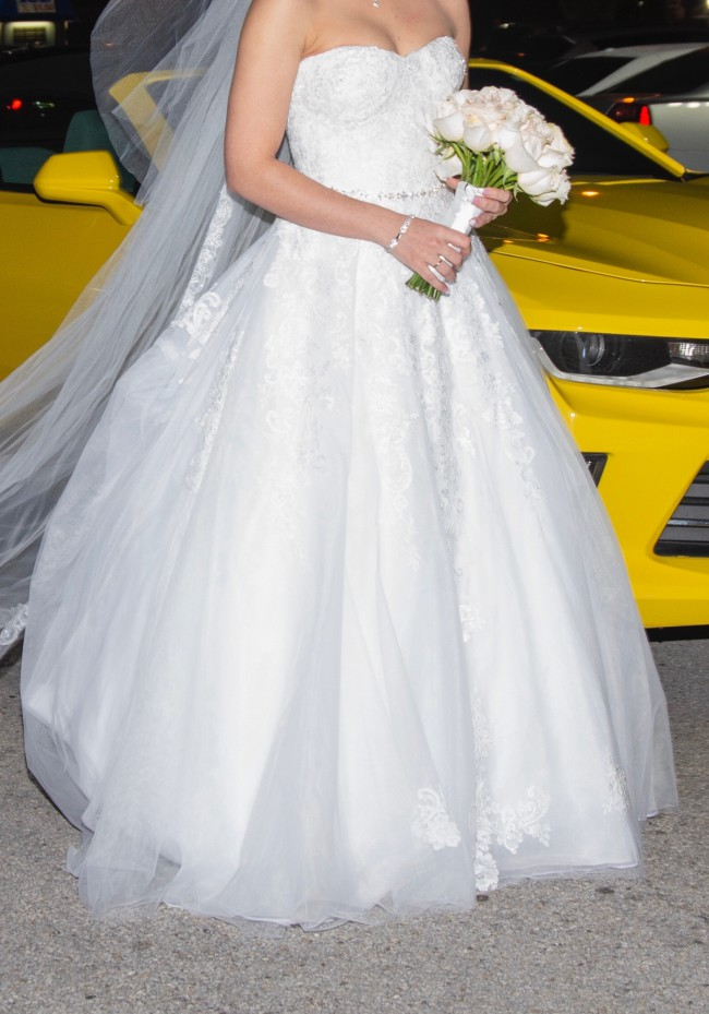 David's Bridal Collection, Sheer Lace and Tulle Ball Gown