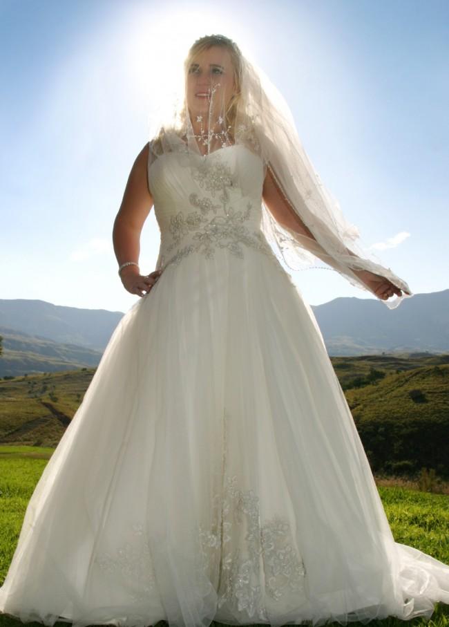 Bride & Co, 1 Shoulder Tulle Gown EMB Detail