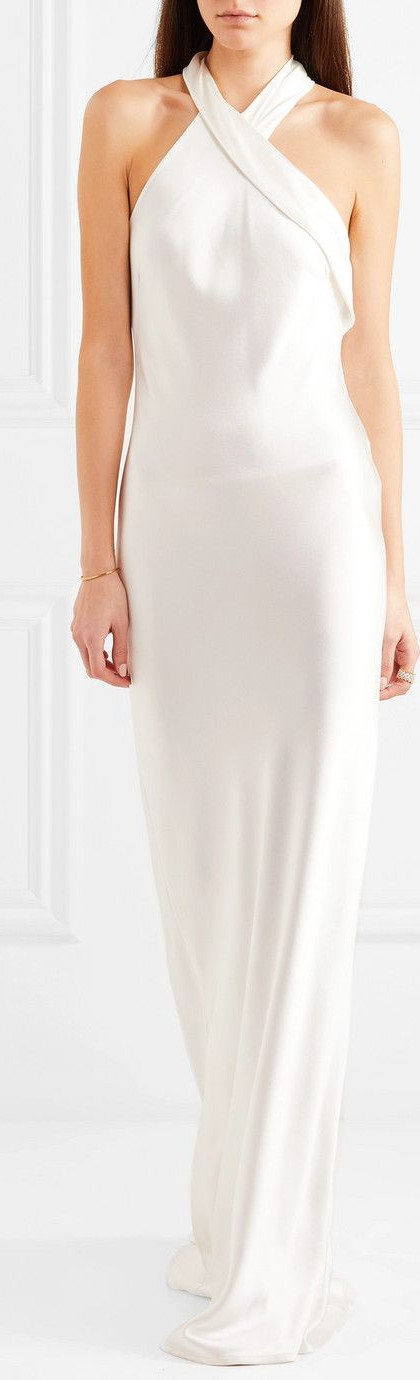 Galvan London, Silk-satin halterneck gown