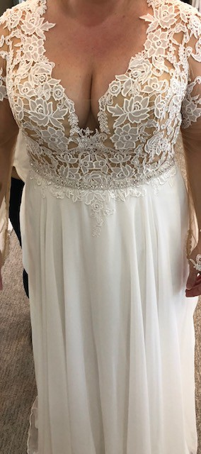Lillian West Chiffon A-Line Gown with Jewels on Lace Bodice and