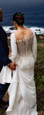 Justin Alexander, Crepe Long Sleeve Wedding Dress Style 8936