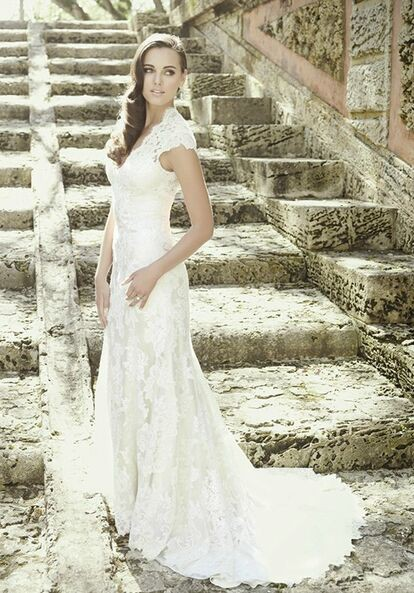 Allure Romance Ivory/Ivory Lace and Charmeuse 2455 Vintage Weddin