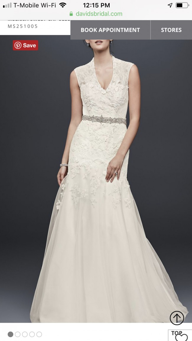 Melissa Sweet, Melissa sweet cap sleeve lace wedding dress