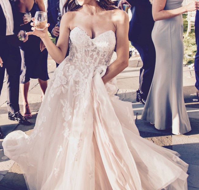Galina Signature Floral Tulle Wedding Dress with Removable Sleeves