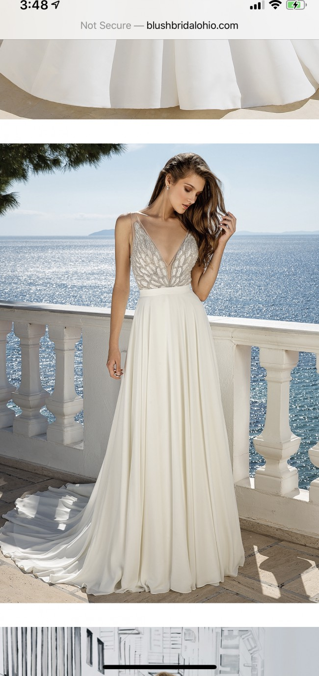 Justin Alexander Beaded Illusion V-Neckline Bodice with A-Line Chif