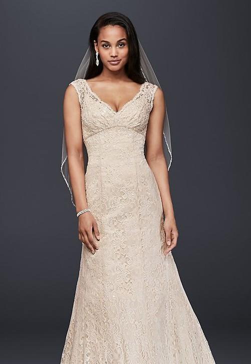 David's Bridal Empire waist- trumpet gown