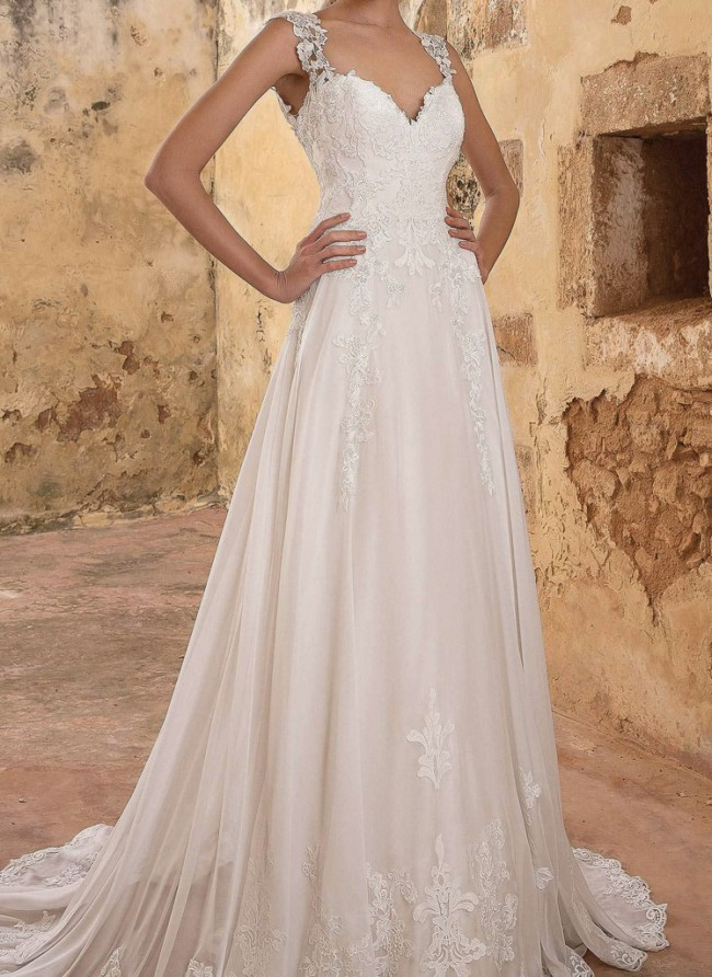Justin Alexander Beaded Venice Lace A-line Gown with Buttons STYLE