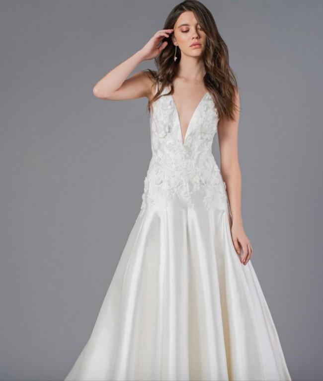 Jenny Yoo Antique White Mi Silk Mikado 12073B-Bardot Gown w/