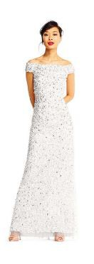 Adrianna Papell Off the Shoulder Sequin Beaded Gown