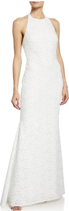 Badgley Mischka, Halter Low-Back Lace Gown