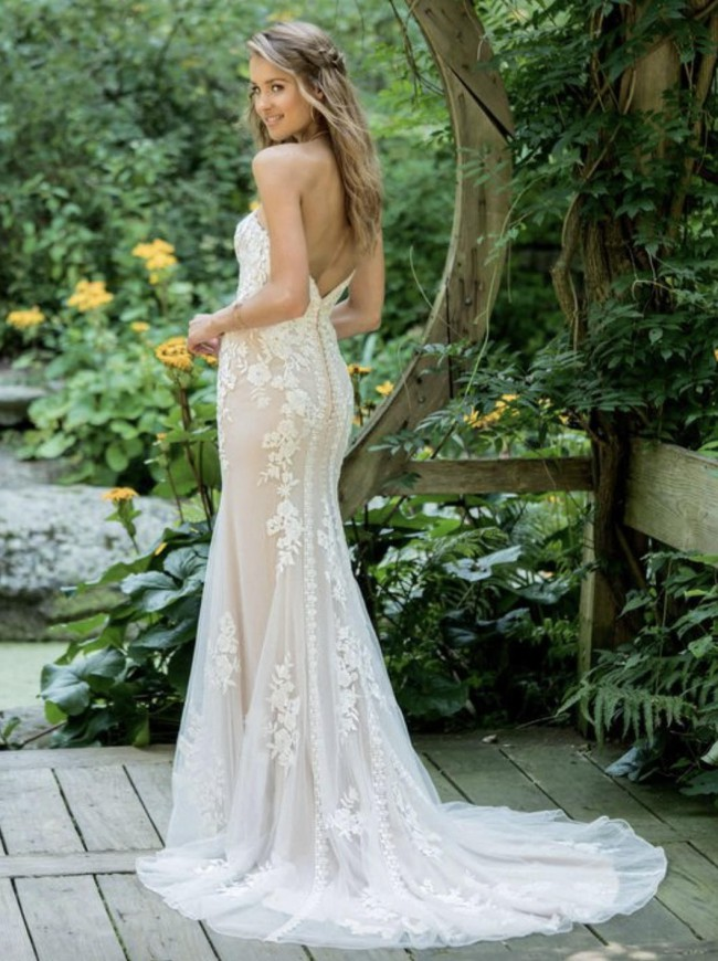 Lillian West Strapless Lace Fit and Flare with Plunging V-Ne
