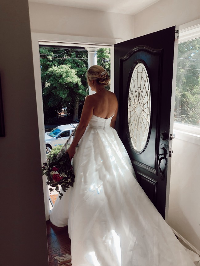 Justin Alexander, Geometric organza trim on strapless ball gown. Sty