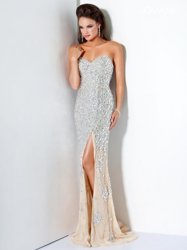 71ffd6cdbcd Jovani Strapless Beaded Gown 4247 Used Wedding Dress on Sale 42% Off ...