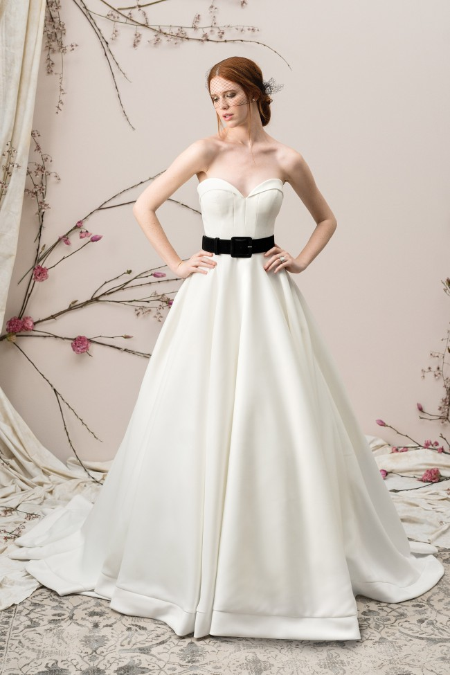 Justin Alexander SATIN BALL GOWN WITH FOLDED COLLAR SWEETHEART NECK