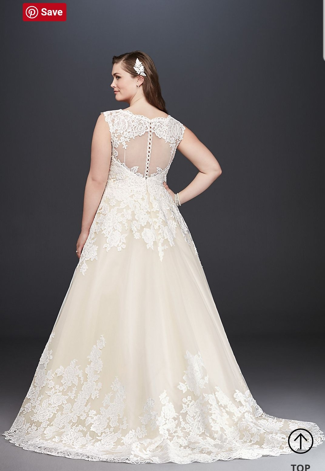 David\'s Bridal Collection Scalloped Lace and Tulle Plus Size Wedding Dress  9 Wedding Dress On Sale - 40% Off