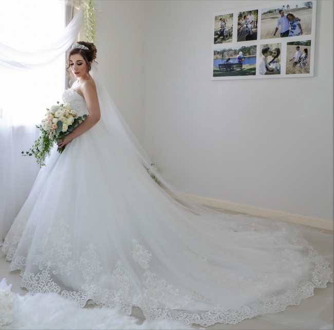 Blanche Bridal, Sabrina Dress and Cathedral Veil