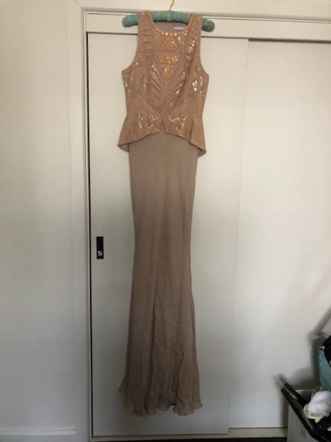 Rachel Gilbert Leilani Gown, Mushroom