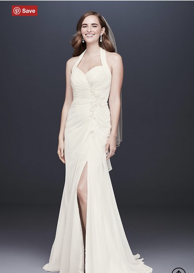 David's Bridal, OP1340 Halter Pleated Sheath Wedding Dress with Ap