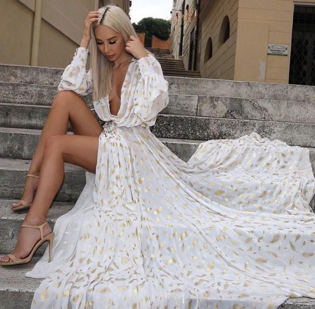 ec7b3c6c80 Constantina   Louise Adora Gold Feather Ivory Set Preowned Wedding ...