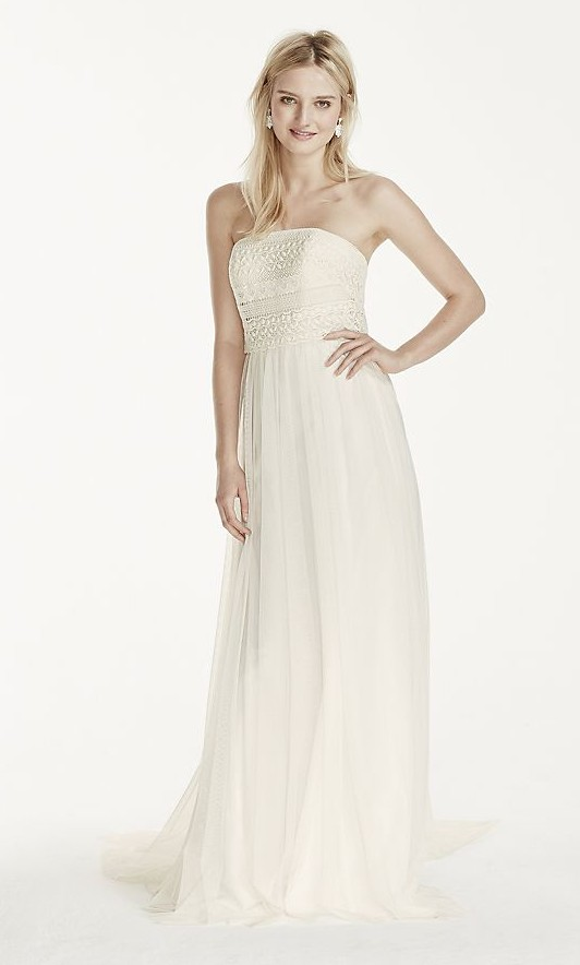 Galina, Strapless Tulle Sheath Dress with Lace Bodice