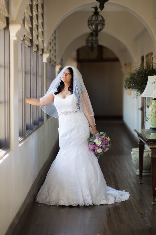 David's Bridal Sweetheart Trumpet Wedding Dress with Beaded Sash