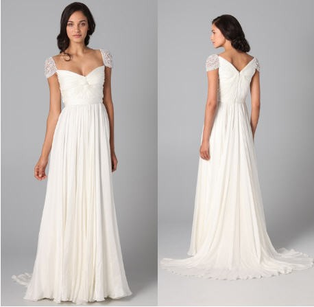 7c97493c24ae Reem Acra Twist Front Gown with Jeweled Sleeves Used Wedding Dress ...