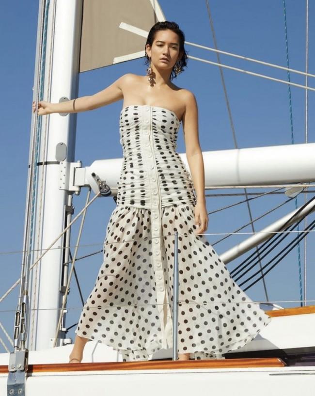 Zimmermann Ruched strapless dot dress size 2