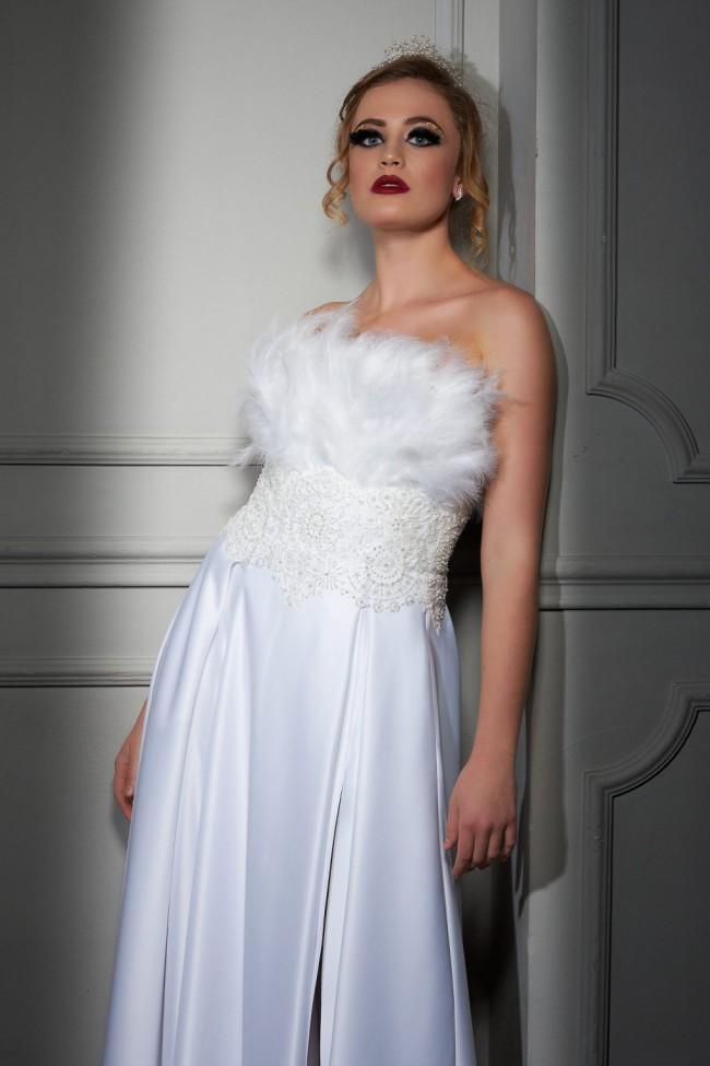 Maison Estrella American Micado satin dress with Fine Italian lace