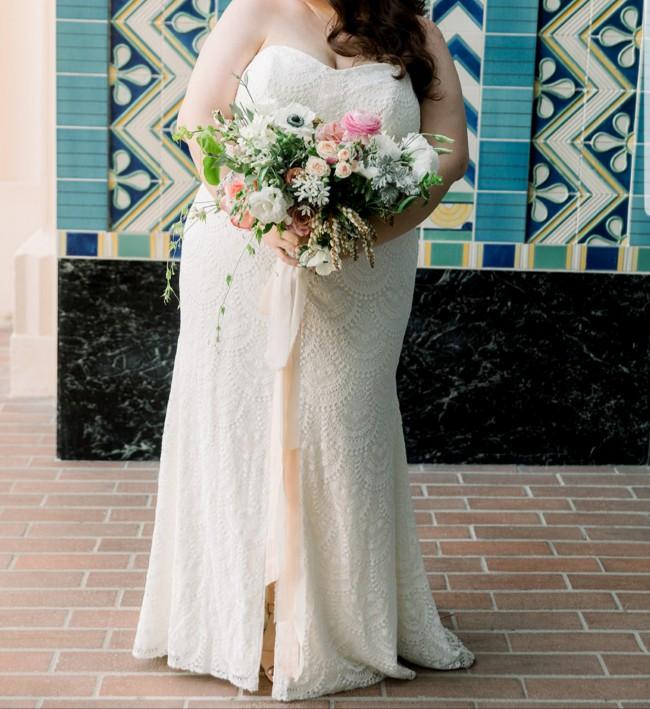 Galina Scalloped Lace Split-Front Plus Size Wedding Dress