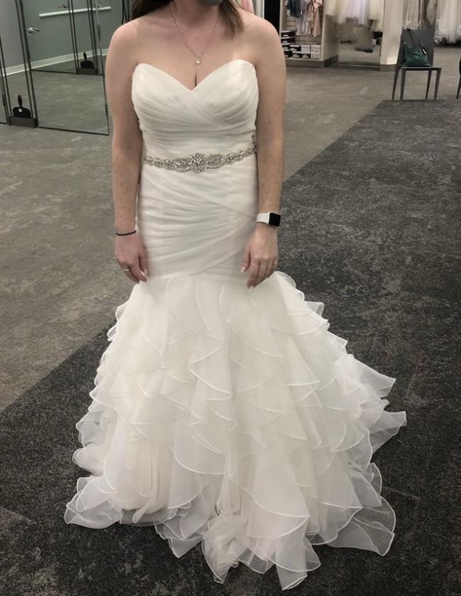David's Bridal Collection Organza Mermaid Wedding Dress with Ruffled Skirt