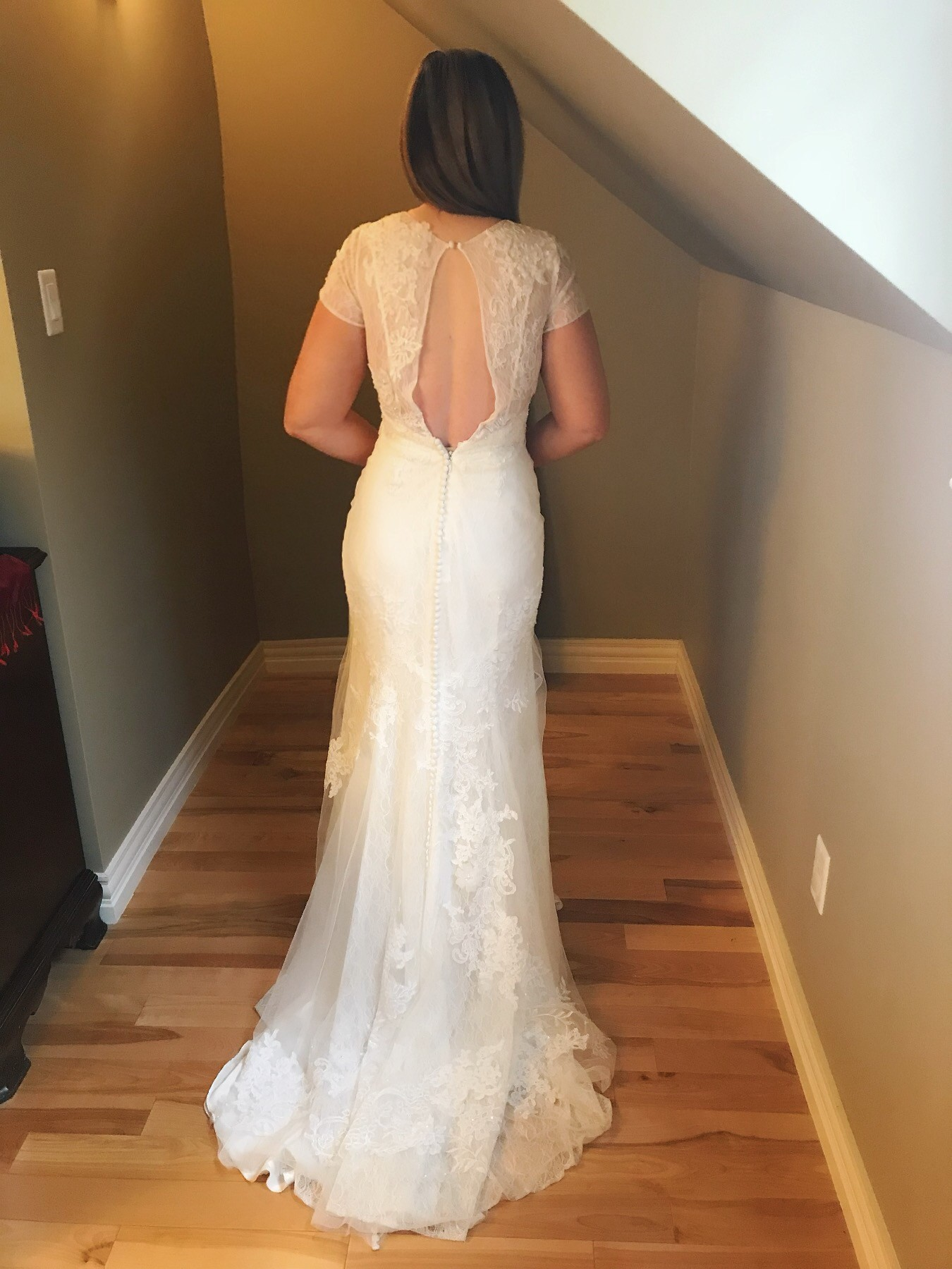 White By Vera Wang Short Sleeve Lace Wedding Dress Ficts