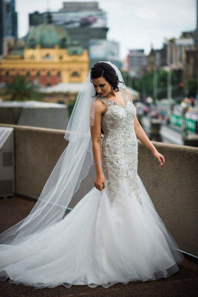 Fairytales Bridal, Ivory Gown with Ivory Tulle Illusion