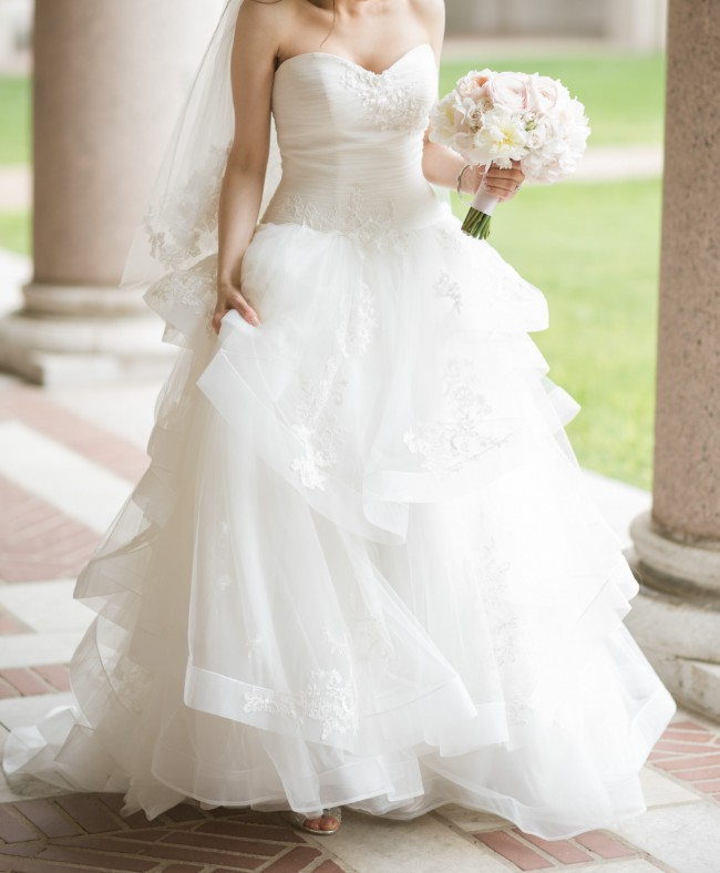 Vera Wang, WHITE BY VERA WANG STRAPLESS TULLE WEDDING DRESS
