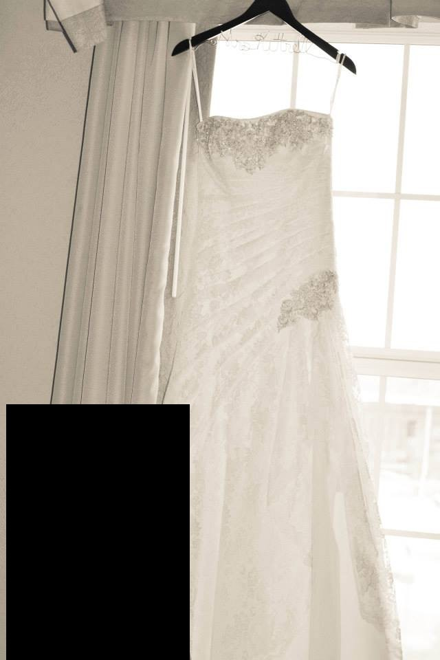 David's Bridal, Lace Wedding Dress with Side Split and Corset Back