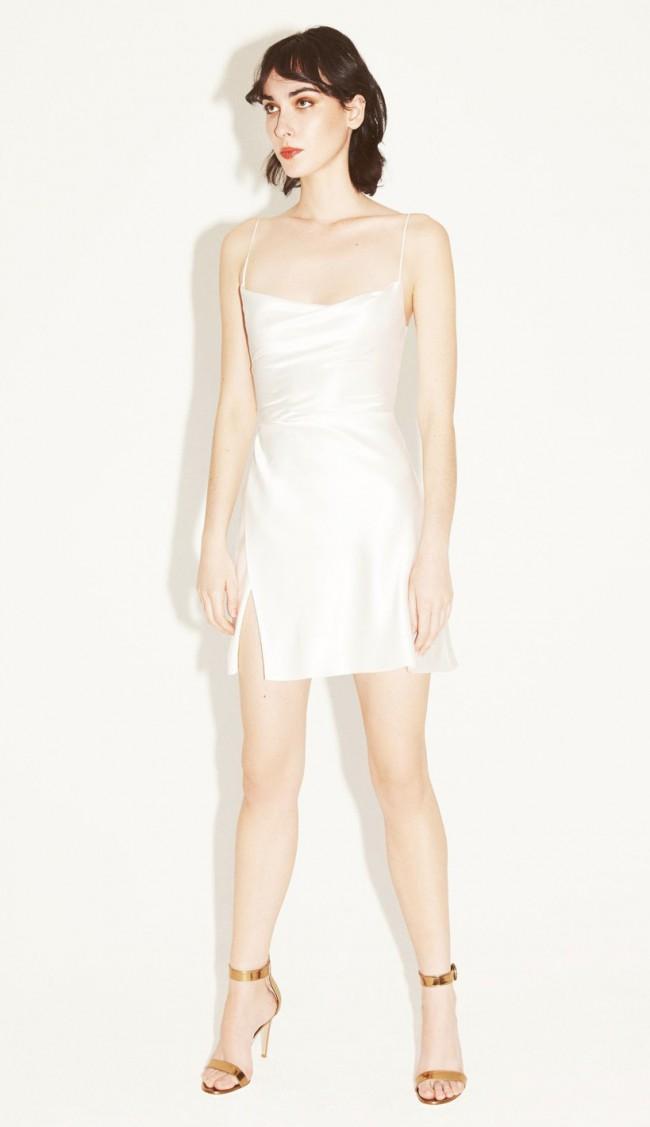 Markarian Gloria white silk mini dress