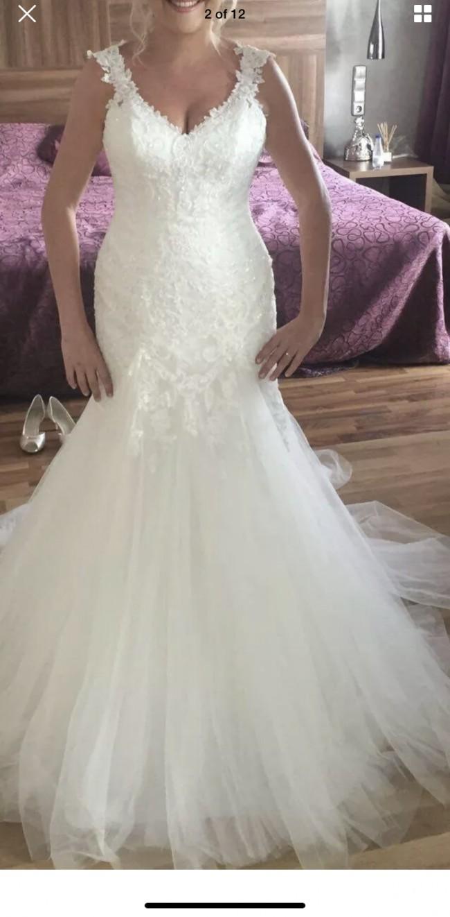 Stella York Stella York Beaded Lace and Tulle Satin Wedding Dr