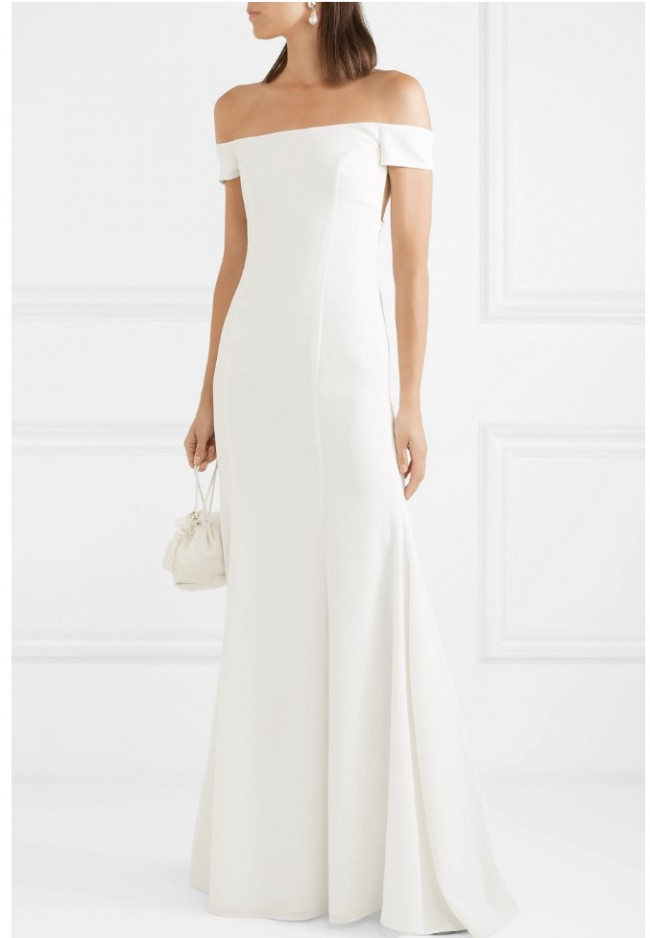 Rime Arodaky Louvre off the shoulder crepe gown