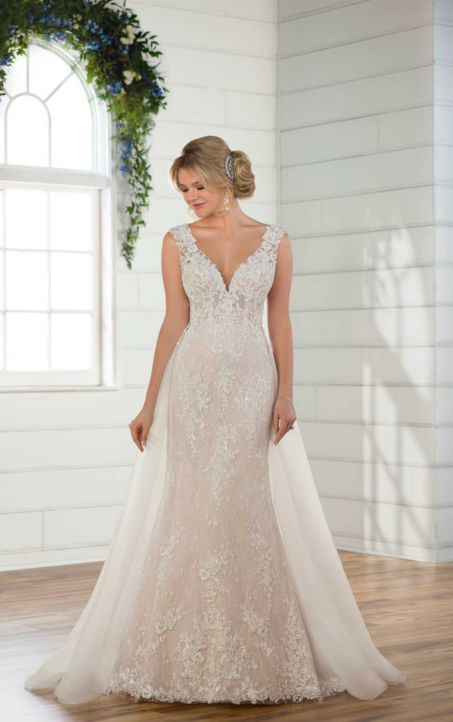 Essense of Australia Lace Sparkly Fit and Flare Wedding Dress - Style D
