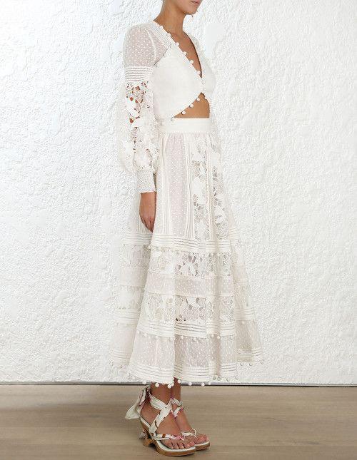 Zimmermann Corsage Embellished Bodice and Maxi Skirt SET