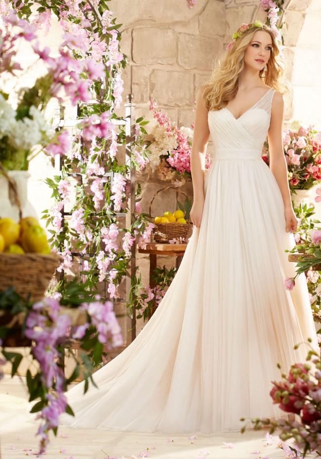 Morilee Madeline Gardner Deep V Back Soft Net Wedding Dres