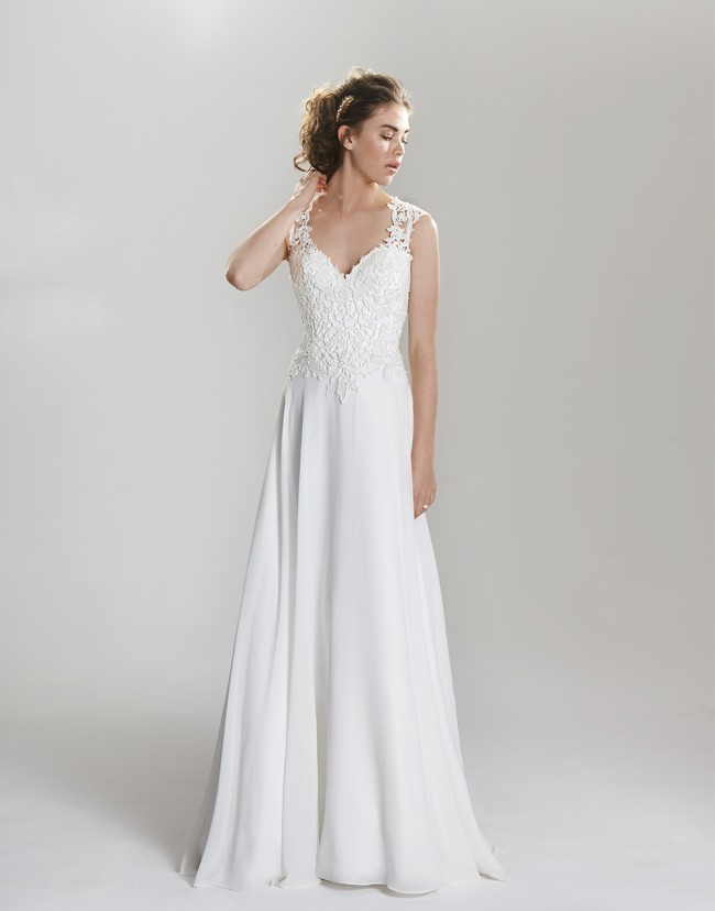 Lillian West, Venice Lace and Chiffon A-Line Gown - STYLE 6398