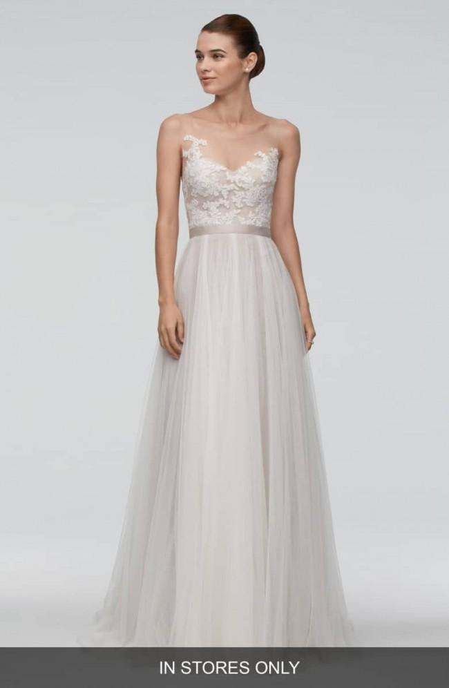 Watters, Azriel Illusion Neckline Lace & Net A-Line Gown