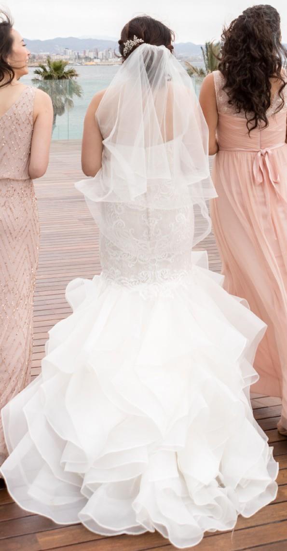 scroll lace trumpet wedding dress