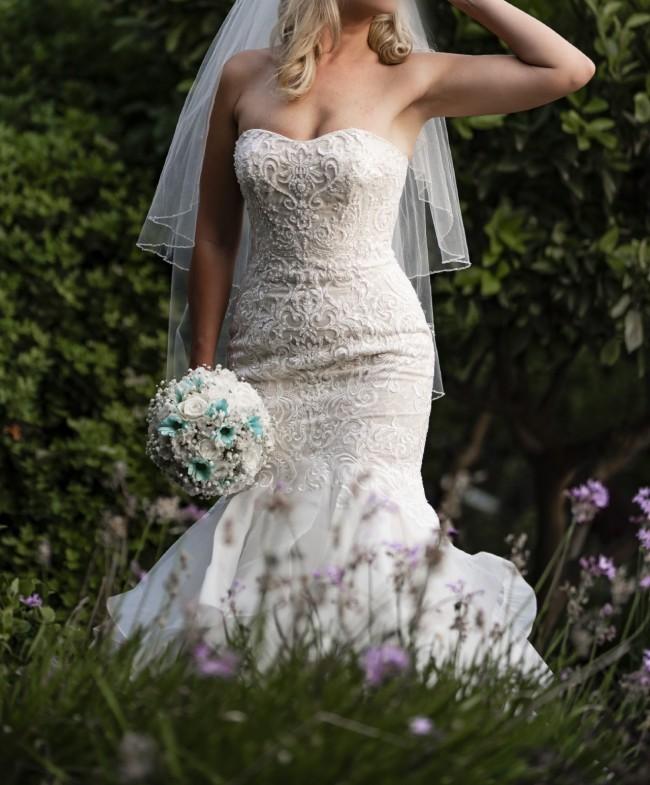 Oleg Cassini Scroll Lace Trumpet Wedding Dress