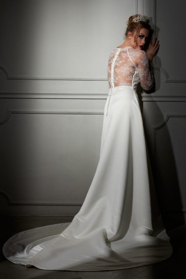 Maison Estrella Agatta Mikado fabric with fine Italian lace