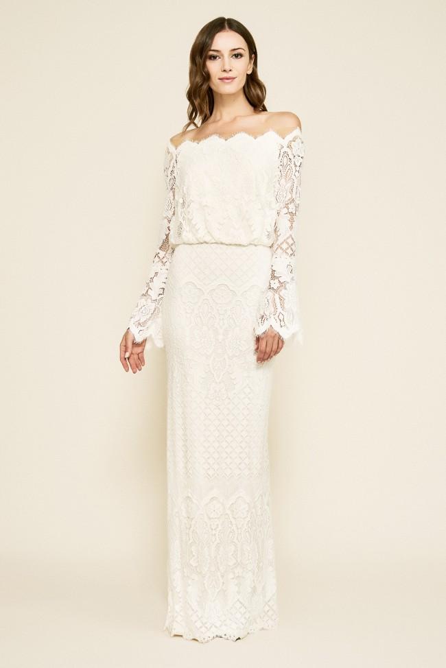 Tadashi Shoji Izumi Bell Sleeve Off-The-Shoulder Lace Gown