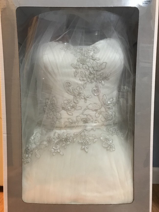 Oleg Cassini, One Shoulder Tulle Ball Gown With Lace Appliques