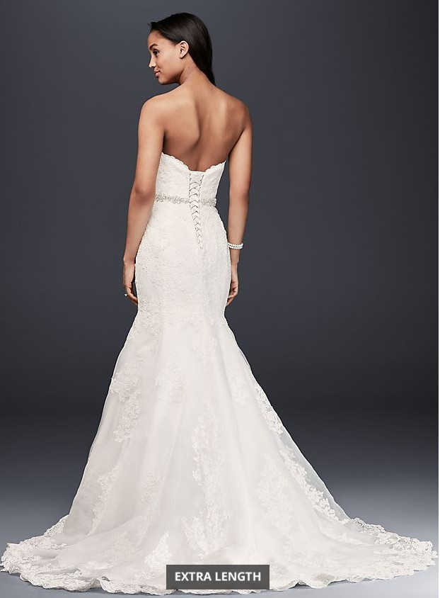 David's Bridal Sweetheart Trumpet Gown with Cathedral Veil
