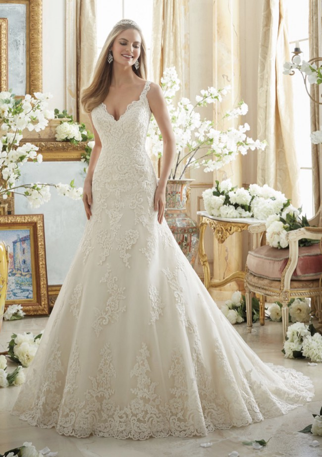 Morilee 2890 scalloped lace fit and flare gown