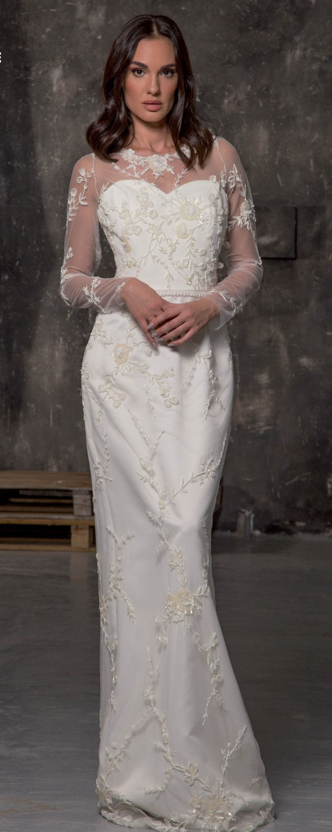 Maison Estrella  Mikado fabric dress with hand-embroidered French